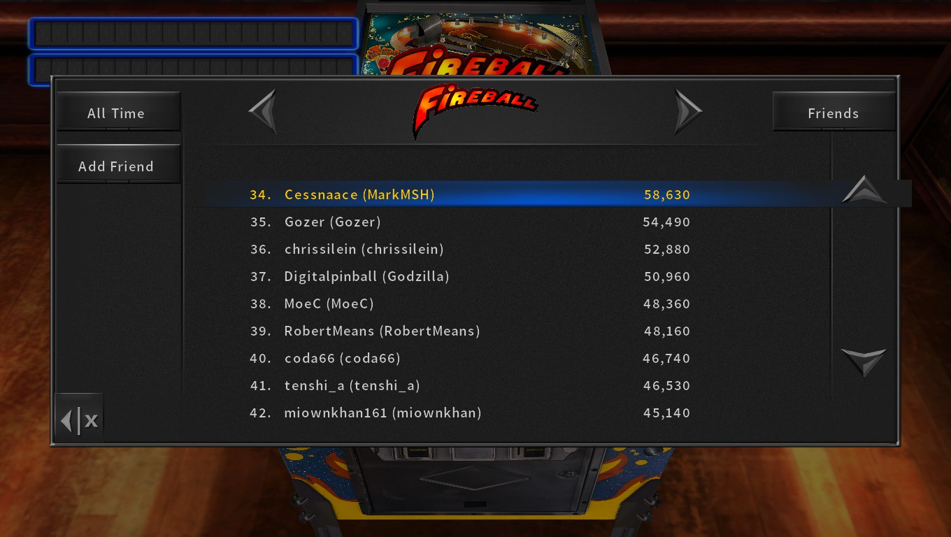 Mark: Pinball Arcade: Fireball (PC) 58,630 points on 2018-05-10 23:09:43