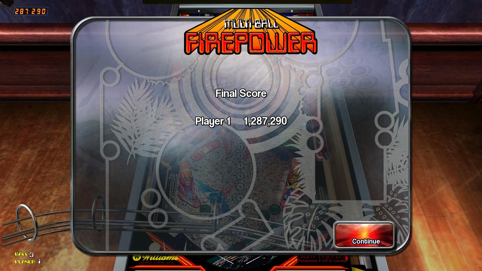Deteacher: Pinball Arcade: Firepower (PC) 1,287,290 points on 2015-08-22 21:16:10