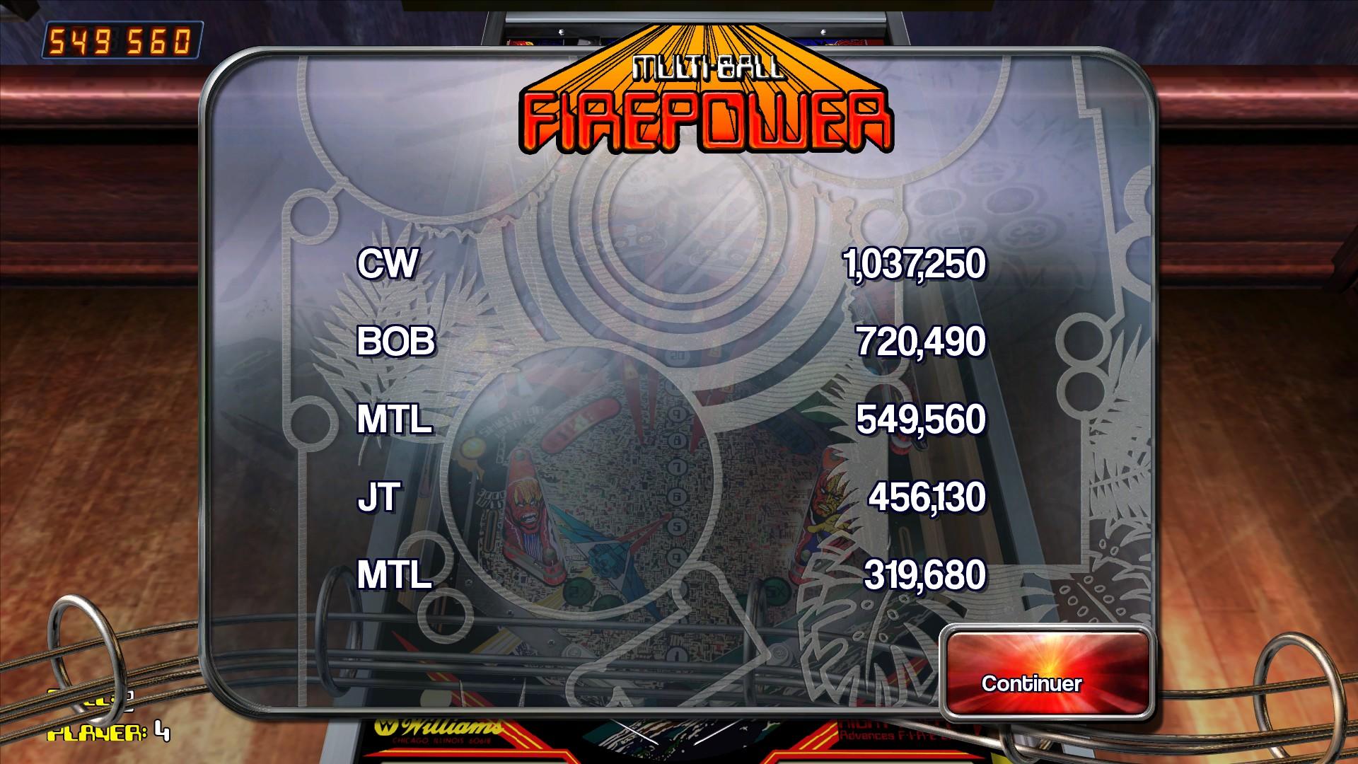 Mantalow: Pinball Arcade: Firepower (PC) 549,560 points on 2015-08-28 04:48:04
