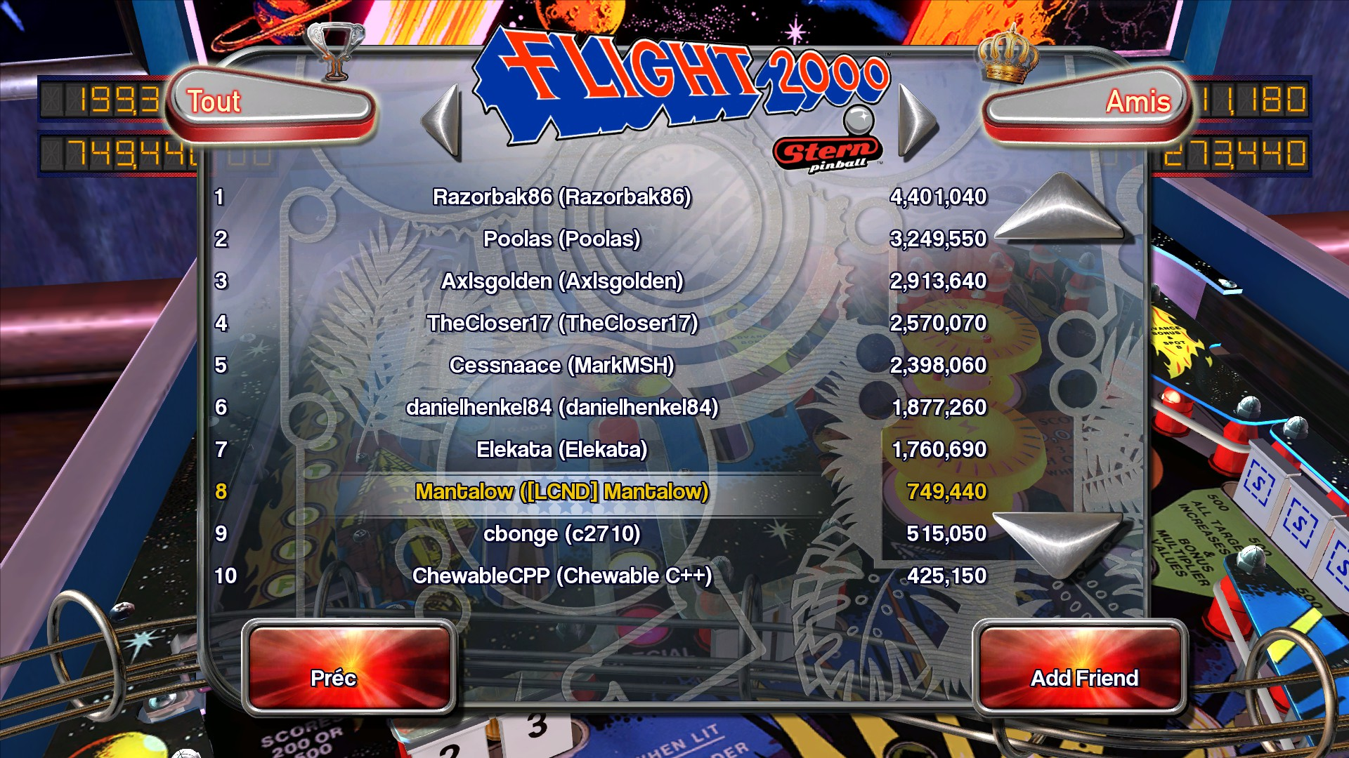 Mantalow: Pinball Arcade: Flight 2000 (PC) 749,440 points on 2015-08-28 04:49:52