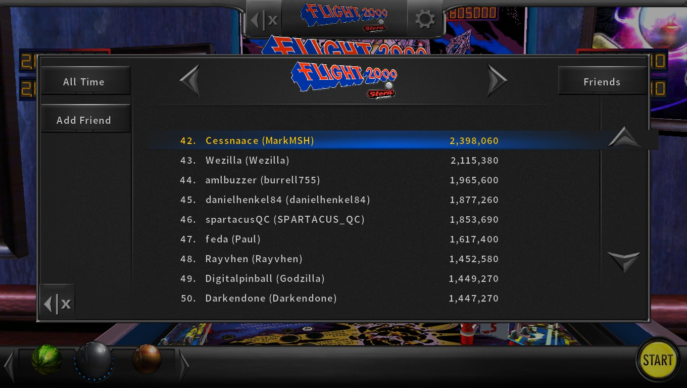 Mark: Pinball Arcade: Flight 2000 (PC) 2,398,060 points on 2018-05-10 23:22:41