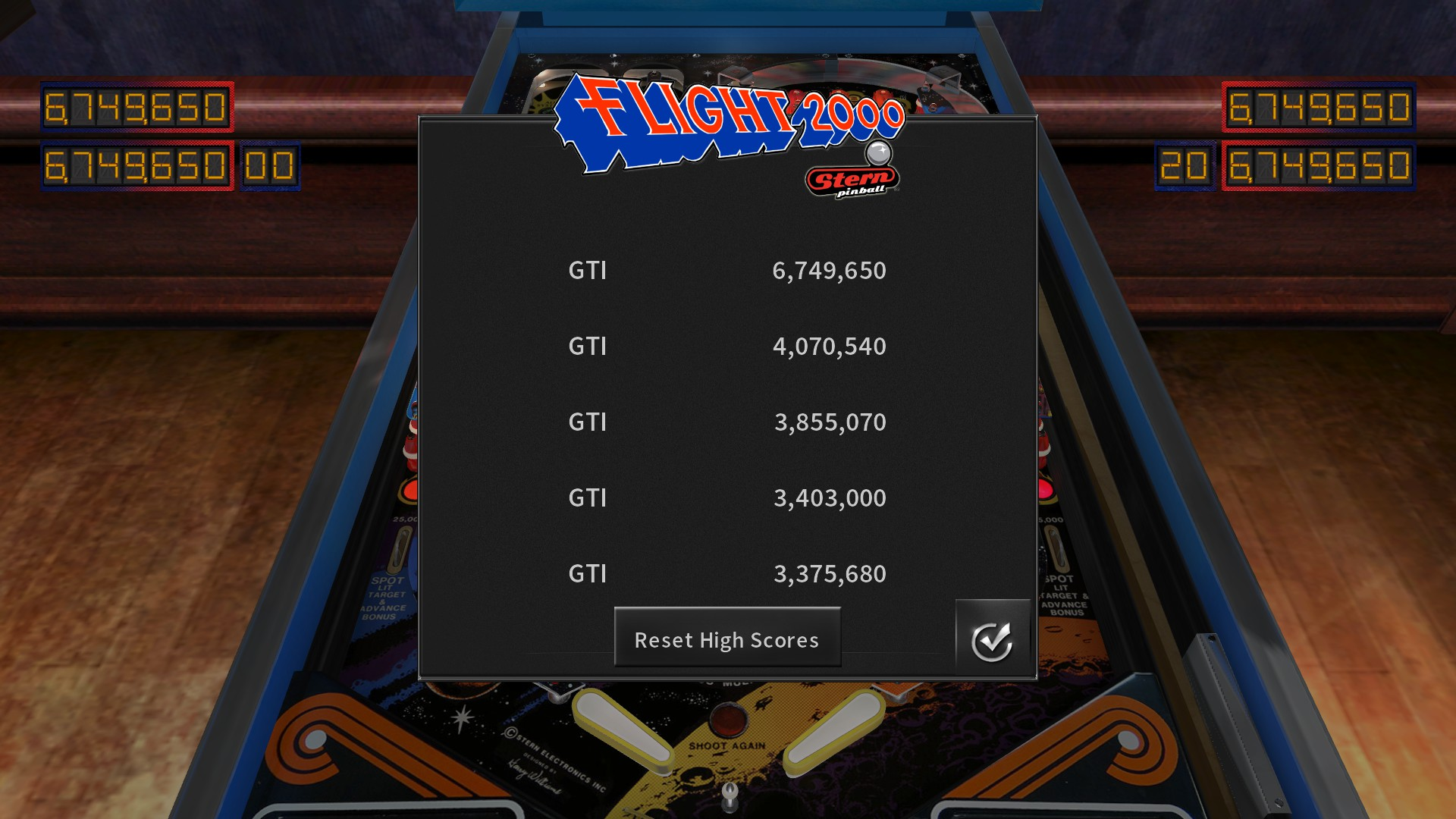 Pinball Arcade: Flight 2000 6,749,650 points