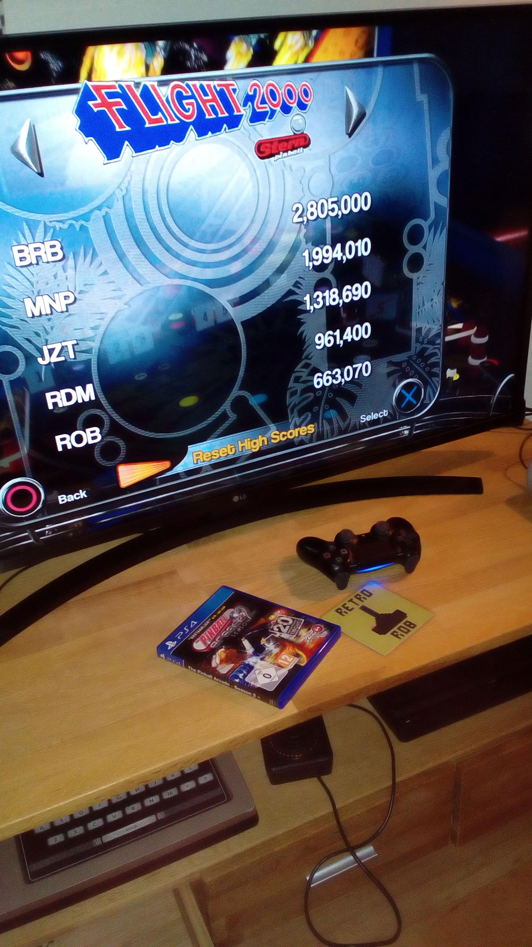 RetroRob: Pinball Arcade: Flight 2000 (Playstation 4) 663,070 points on 2020-07-17 01:13:50
