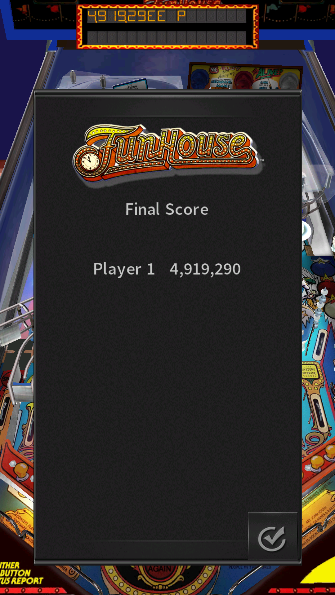 JES: Pinball Arcade: Funhouse (Android) 4,919,290 points on 2016-12-04 21:07:41