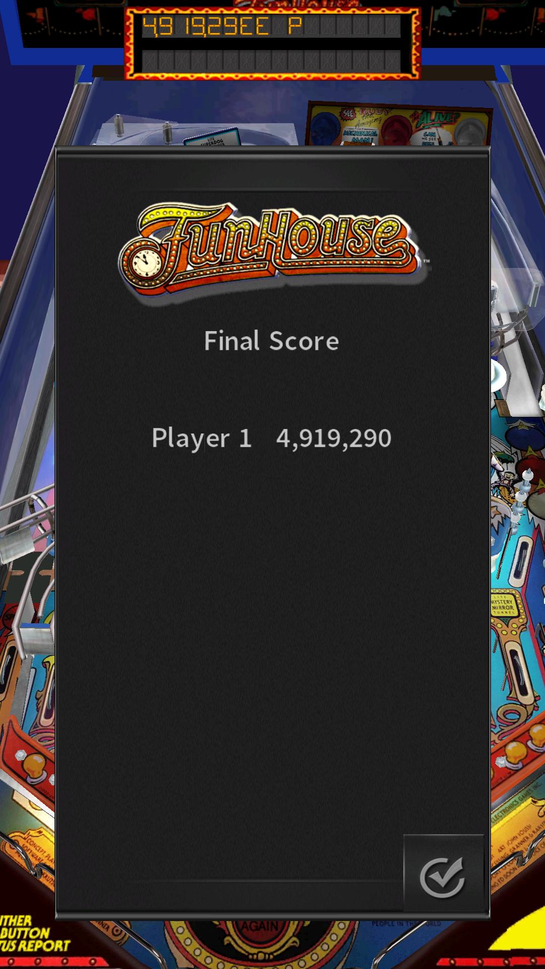 Pinball Arcade: Funhouse 4,919,290 points