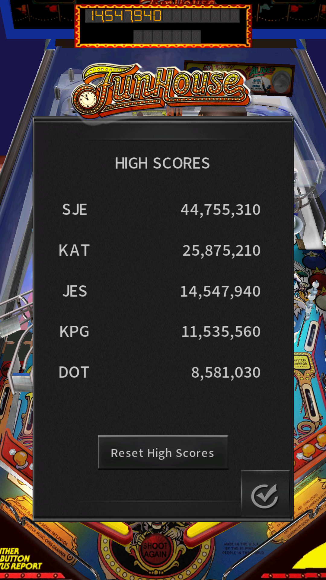 JES: Pinball Arcade: Funhouse (Android) 14,547,940 points on 2017-03-16 02:23:43