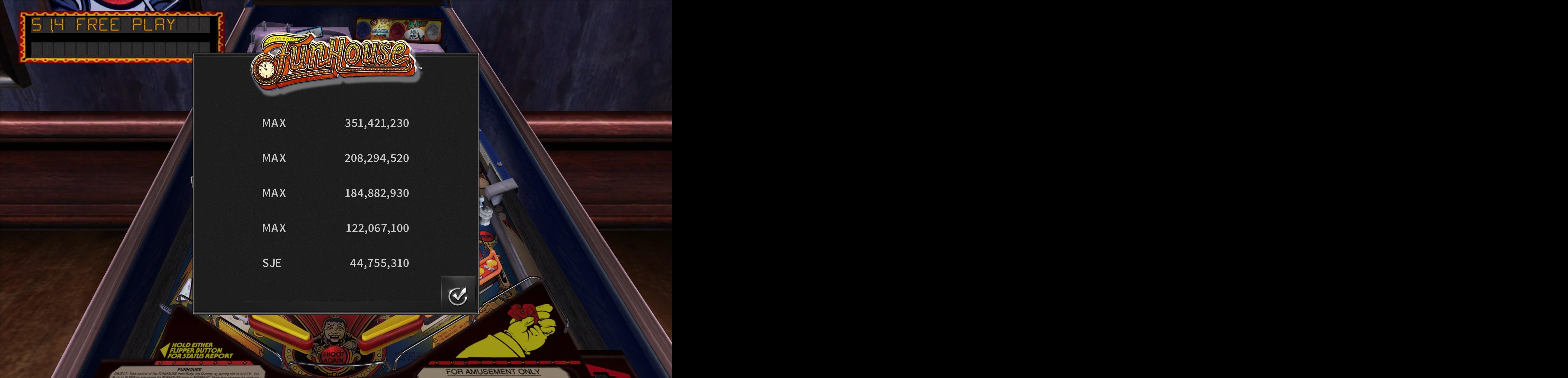 Maxwel: Pinball Arcade: Funhouse (PC) 351,421,230 points on 2017-01-06 13:55:49