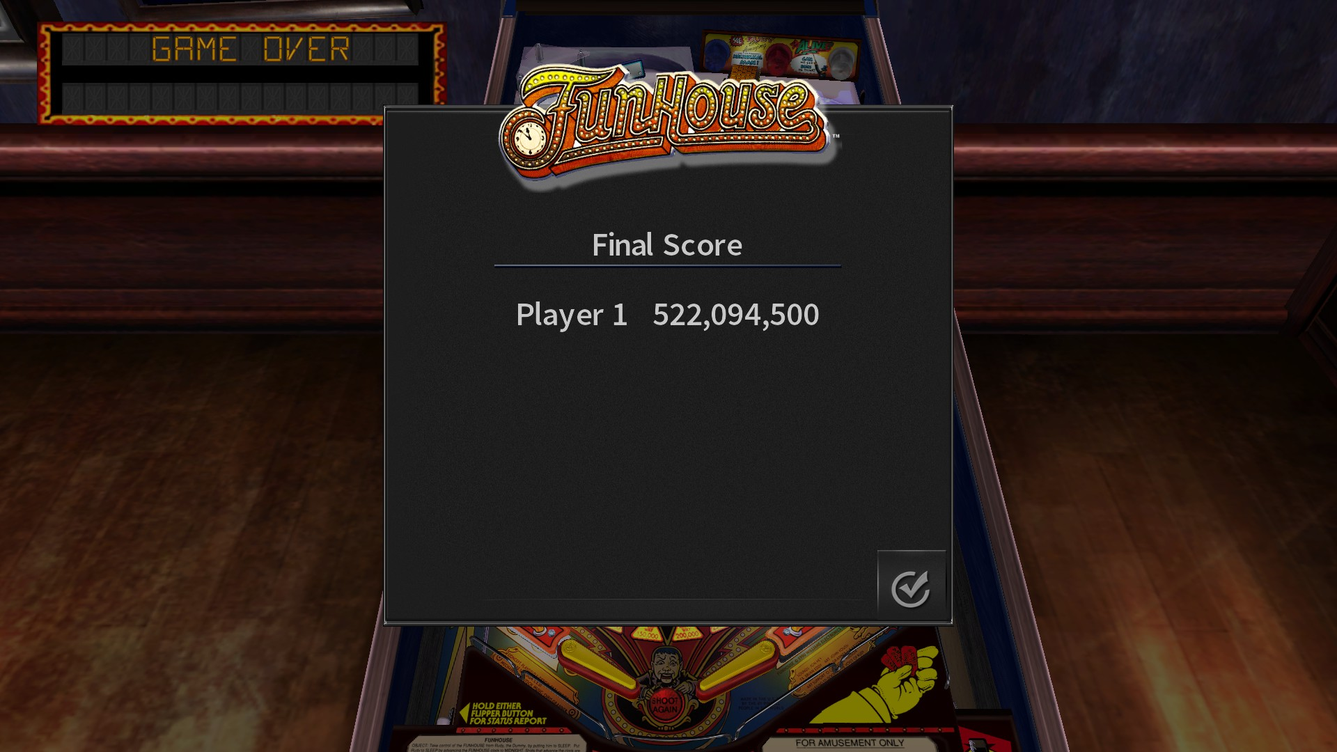 Pinball Arcade: Funhouse 522,094,500 points