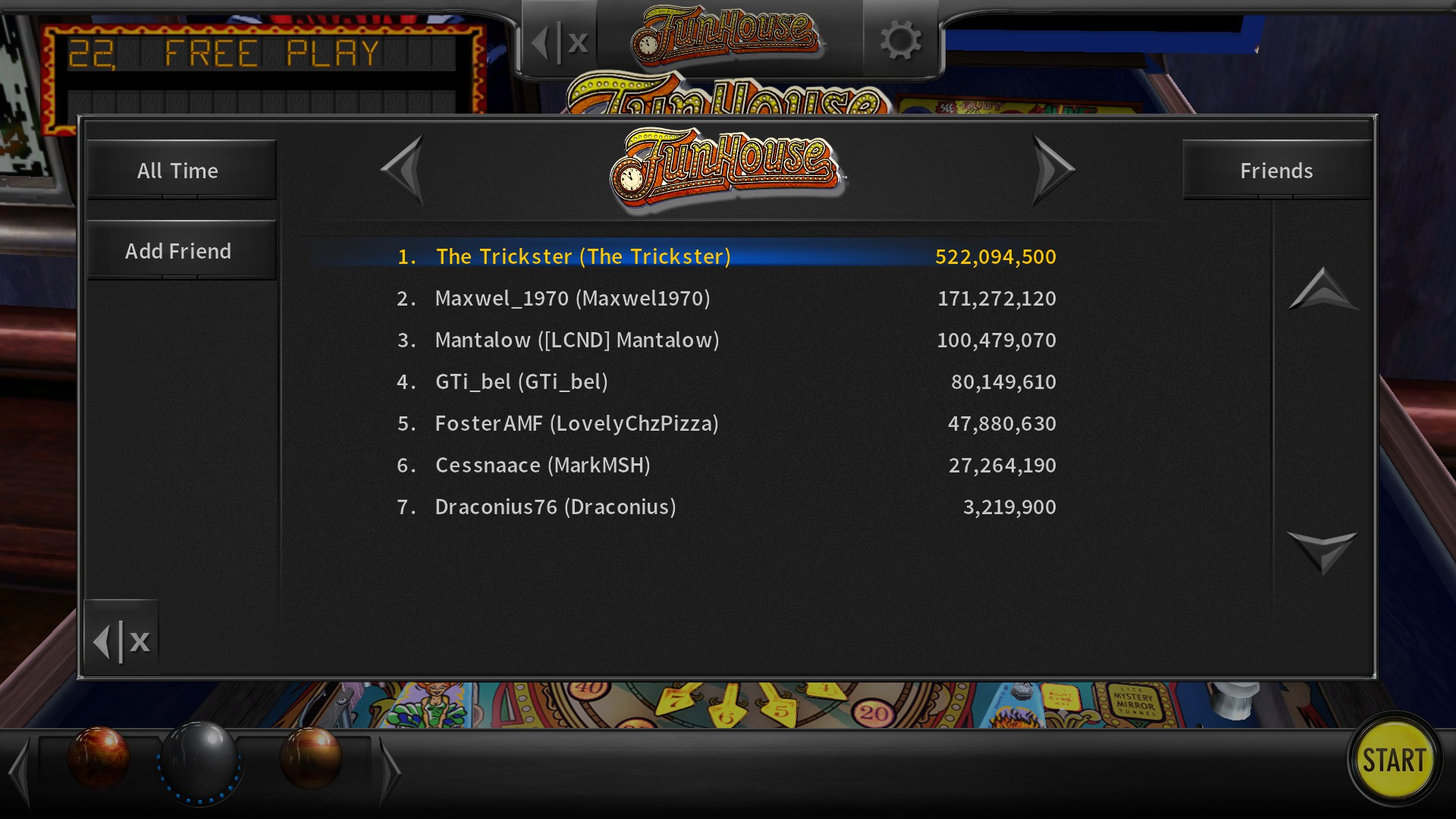 TheTrickster: Pinball Arcade: Funhouse (PC) 522,094,500 points on 2017-02-26 20:46:25