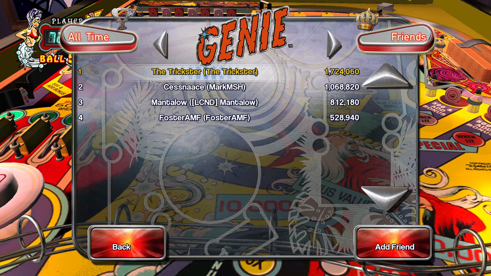 TheTrickster: Pinball Arcade: Genie (PC) 1,724,060 points on 2016-02-10 06:22:50