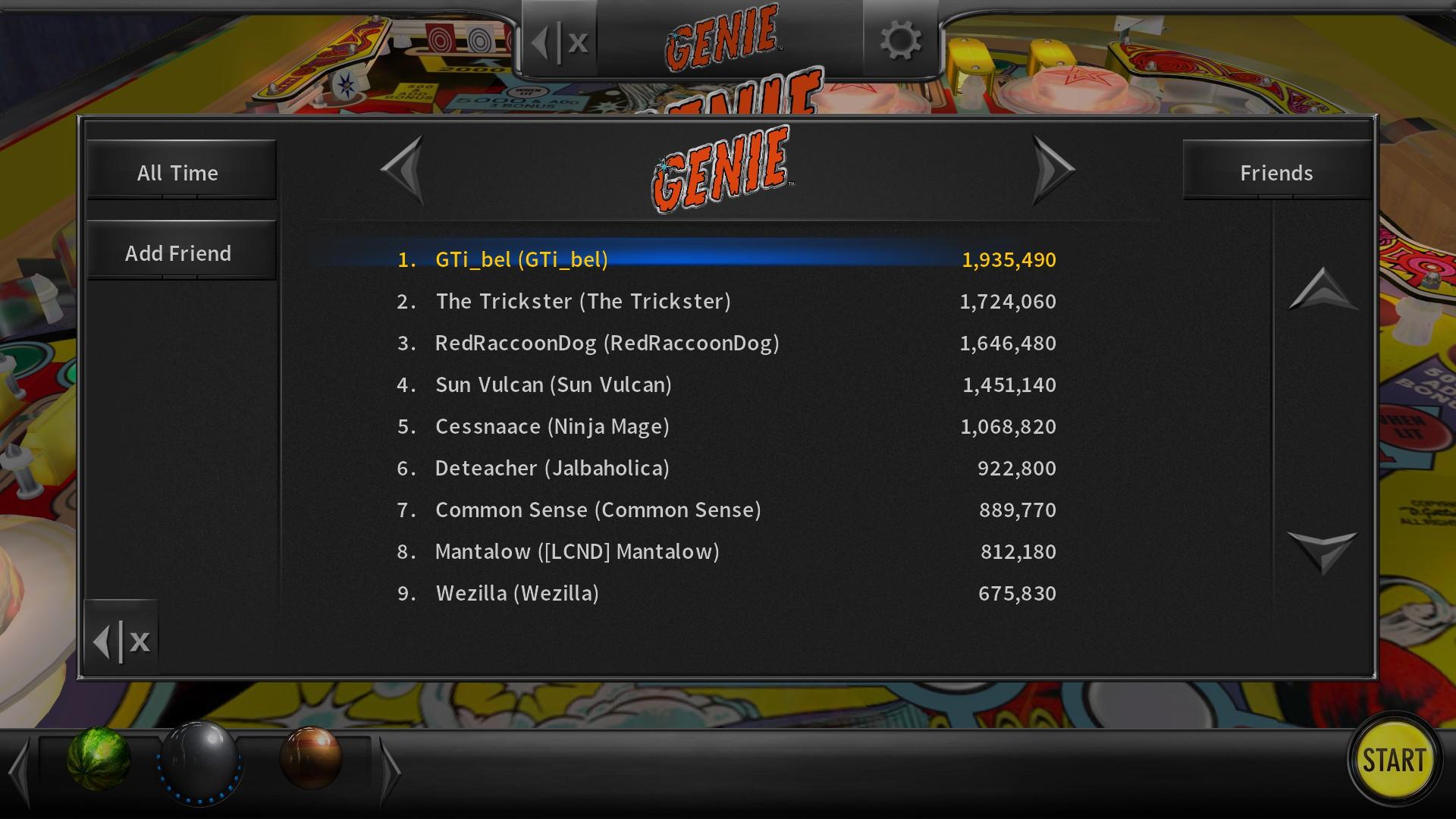 GTibel: Pinball Arcade: Genie (PC) 1,935,490 points on 2018-07-26 10:09:36