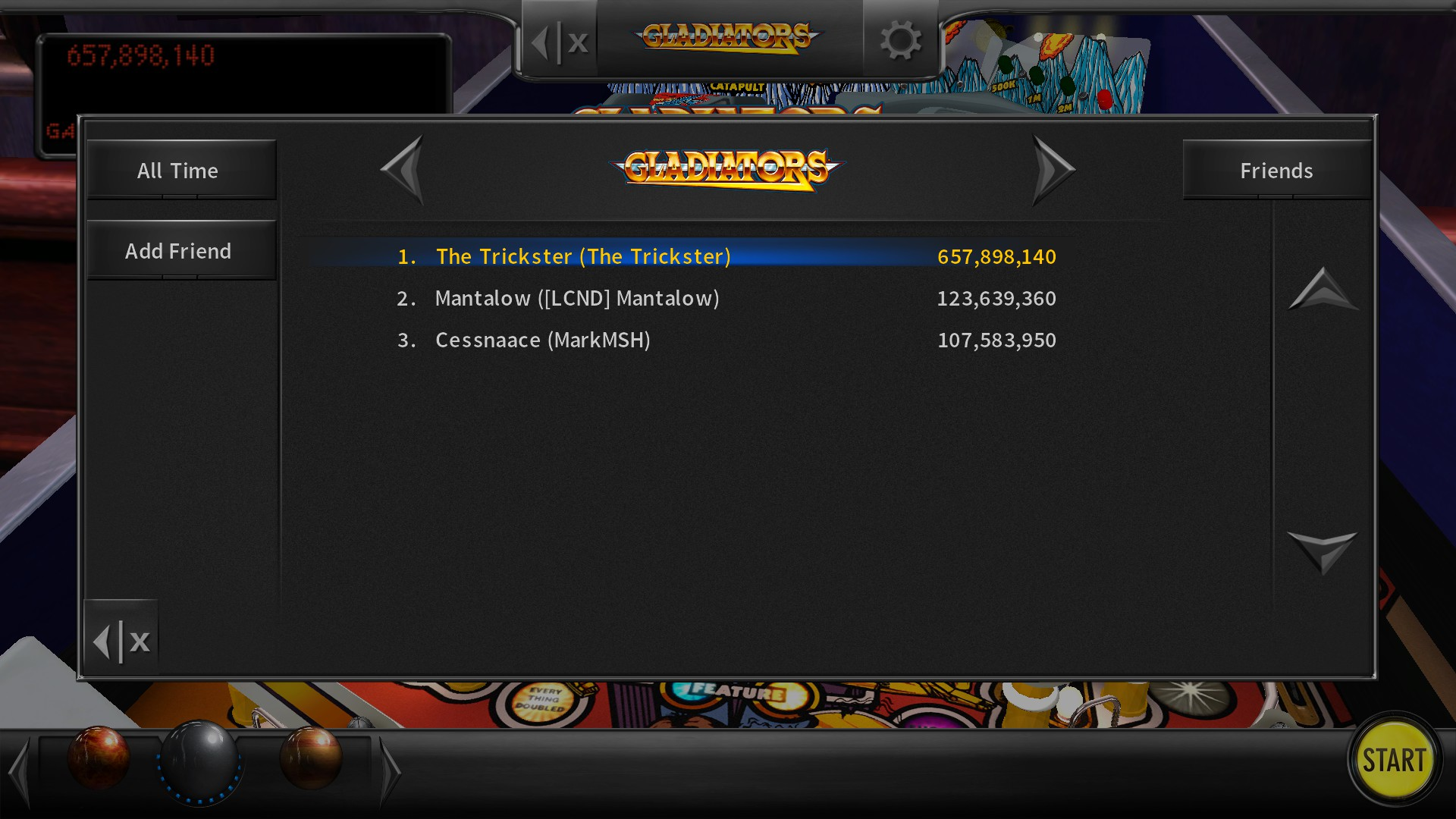 TheTrickster: Pinball Arcade: Gladiators (PC) 657,898,140 points on 2017-01-17 06:20:47
