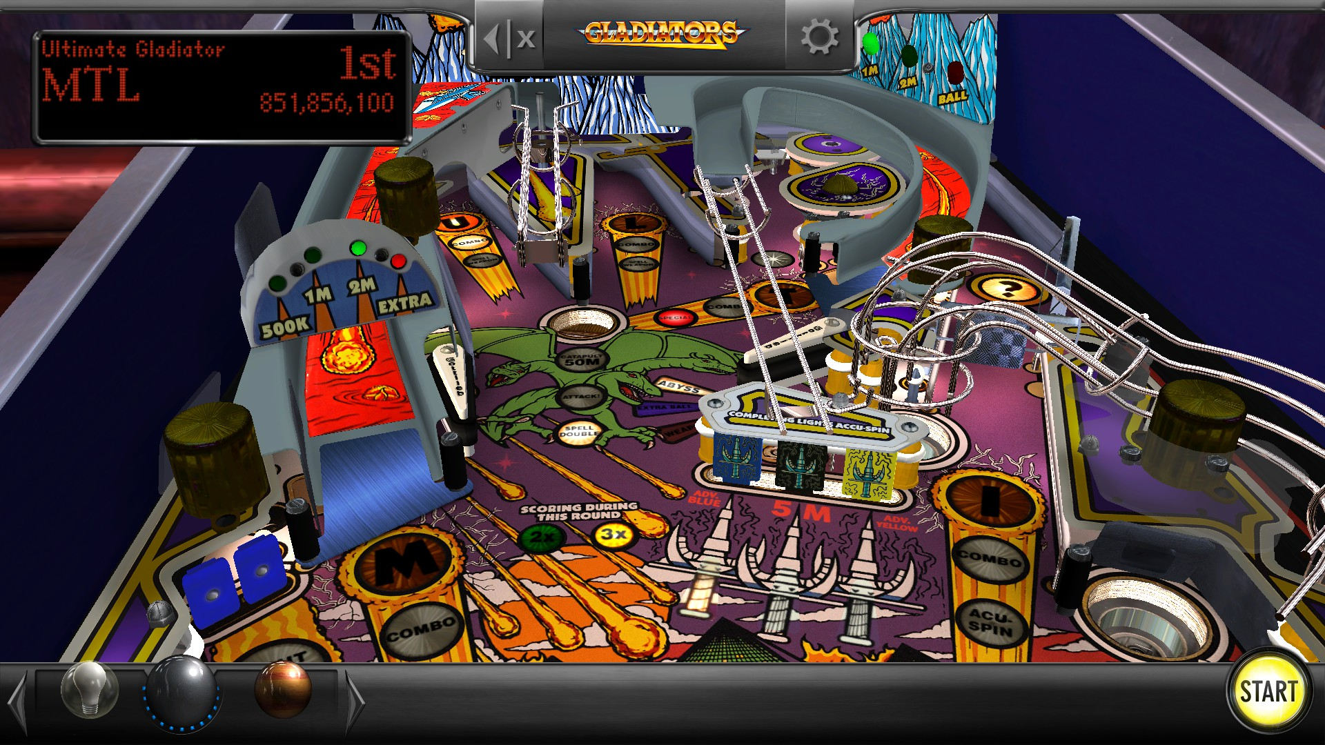 Mantalow: Pinball Arcade: Gladiators (PC) 851,856,100 points on 2017-01-31 03:38:42