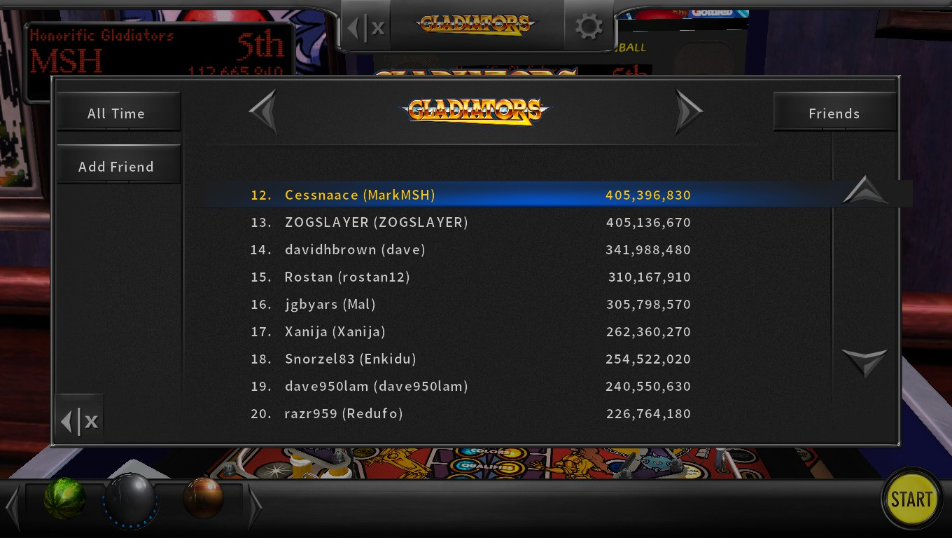Mark: Pinball Arcade: Gladiators (PC) 405,396,830 points on 2018-05-12 01:05:50