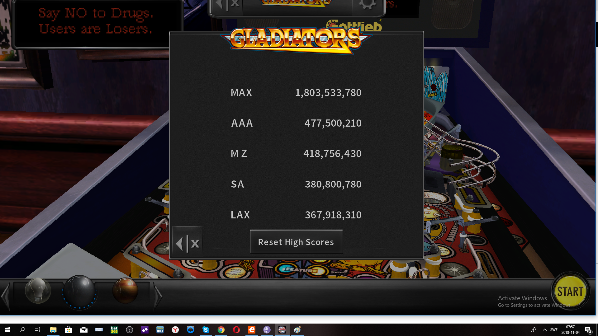 maxgreat: Pinball Arcade: Gladiators (PC) 1,803,533,780 points on 2018-11-04 01:57:34