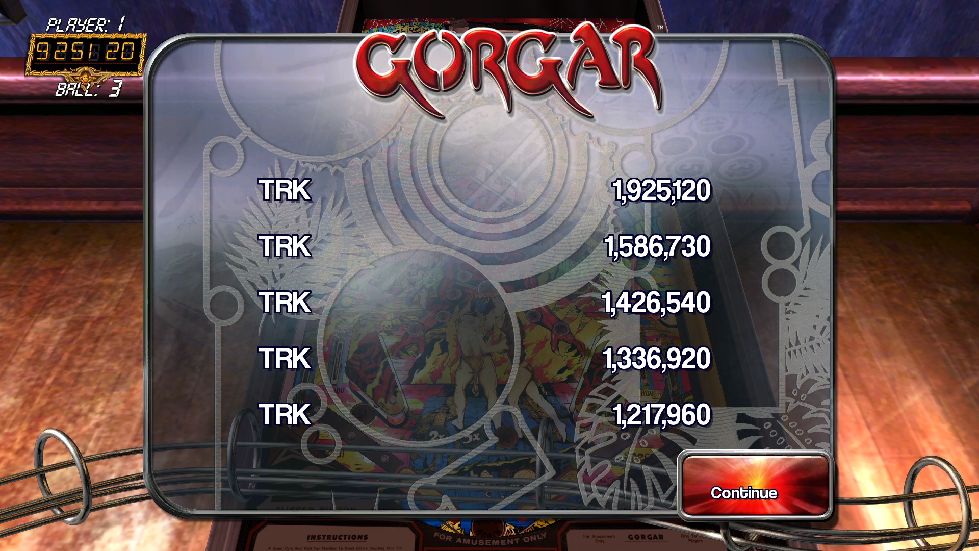 Pinball Arcade: Gorgar 1,925,120 points