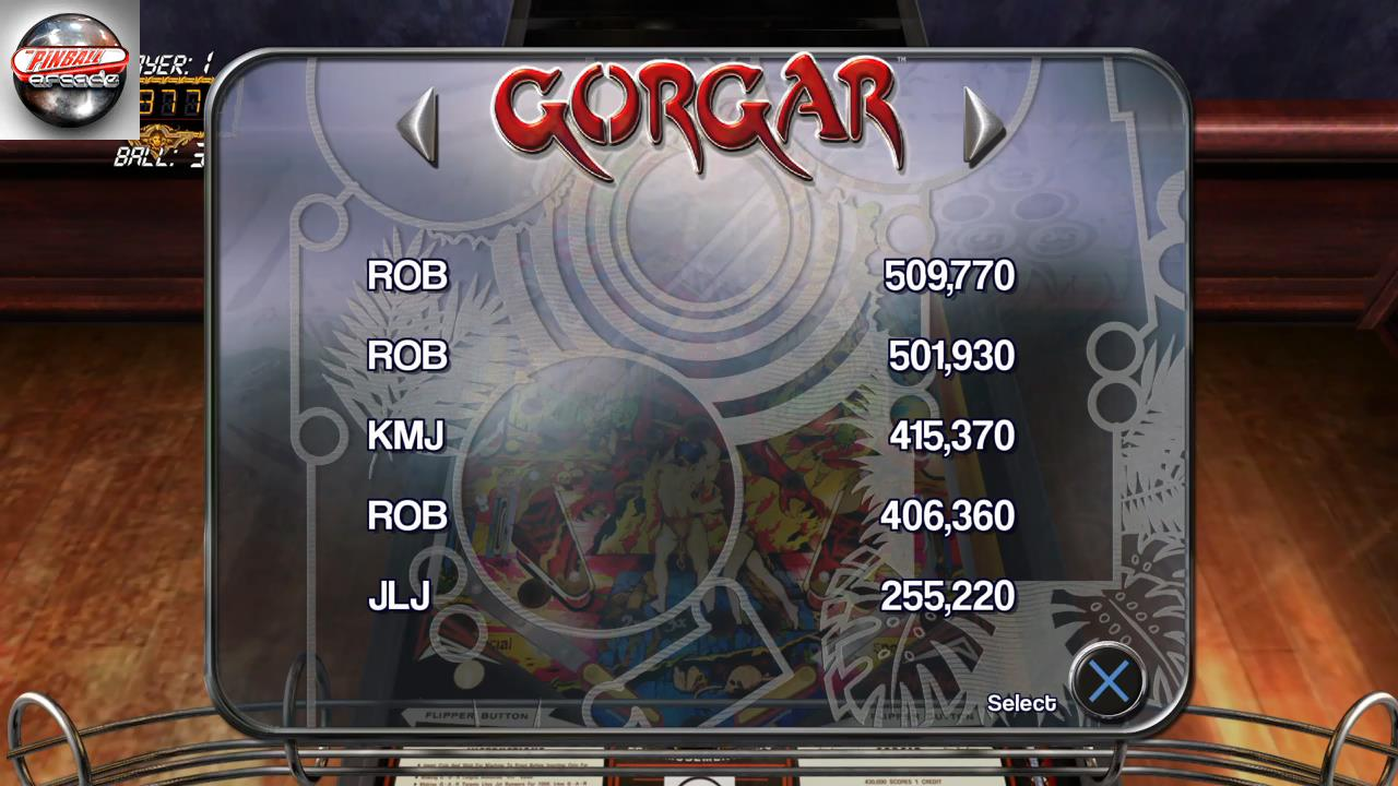 RetroRob: Pinball Arcade: Gorgar (Playstation 4) 509,770 points on 2019-10-20 07:24:16