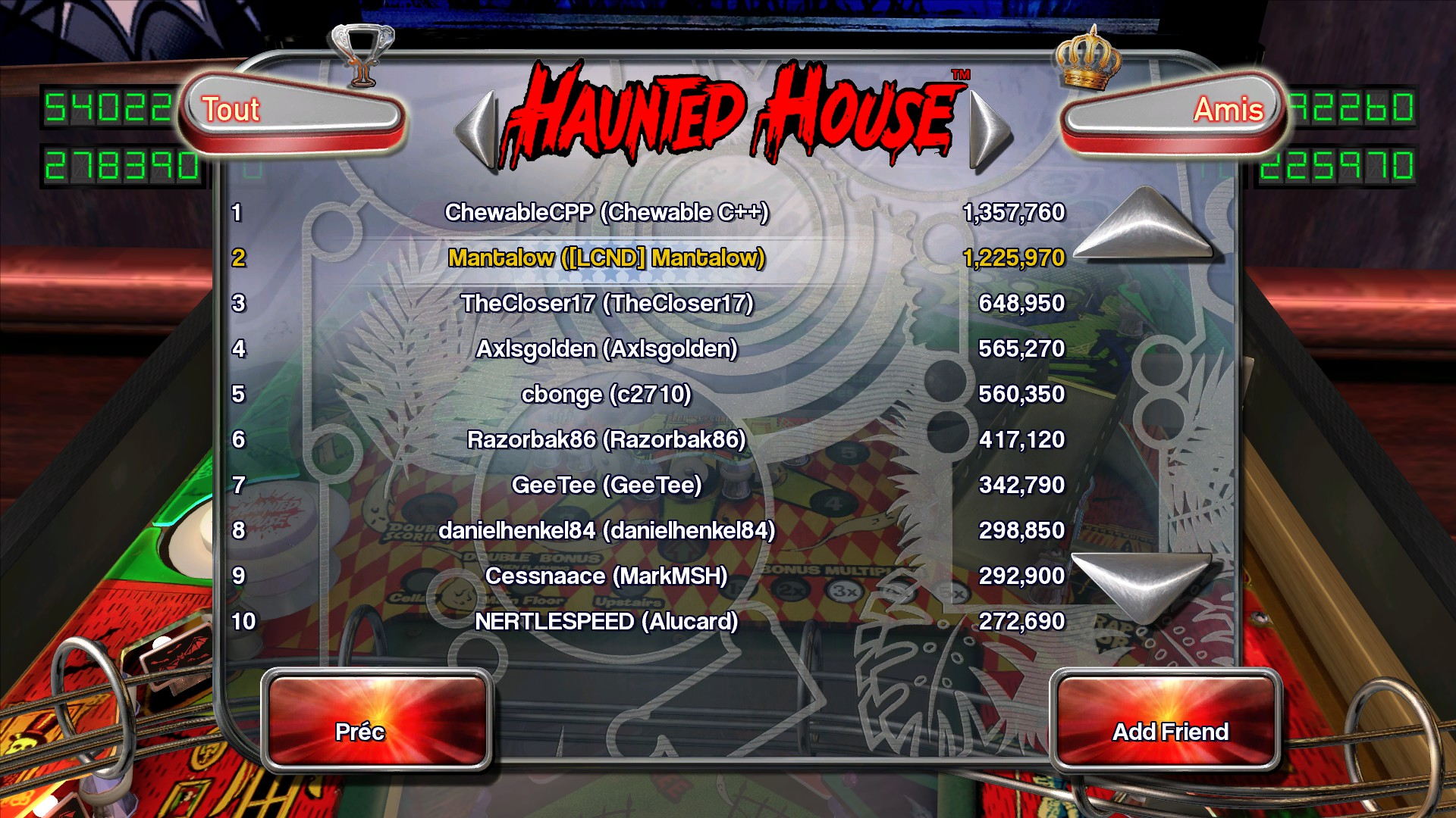 Mantalow: Pinball Arcade: Haunted House (PC) 1,225,970 points on 2015-07-01 15:35:06