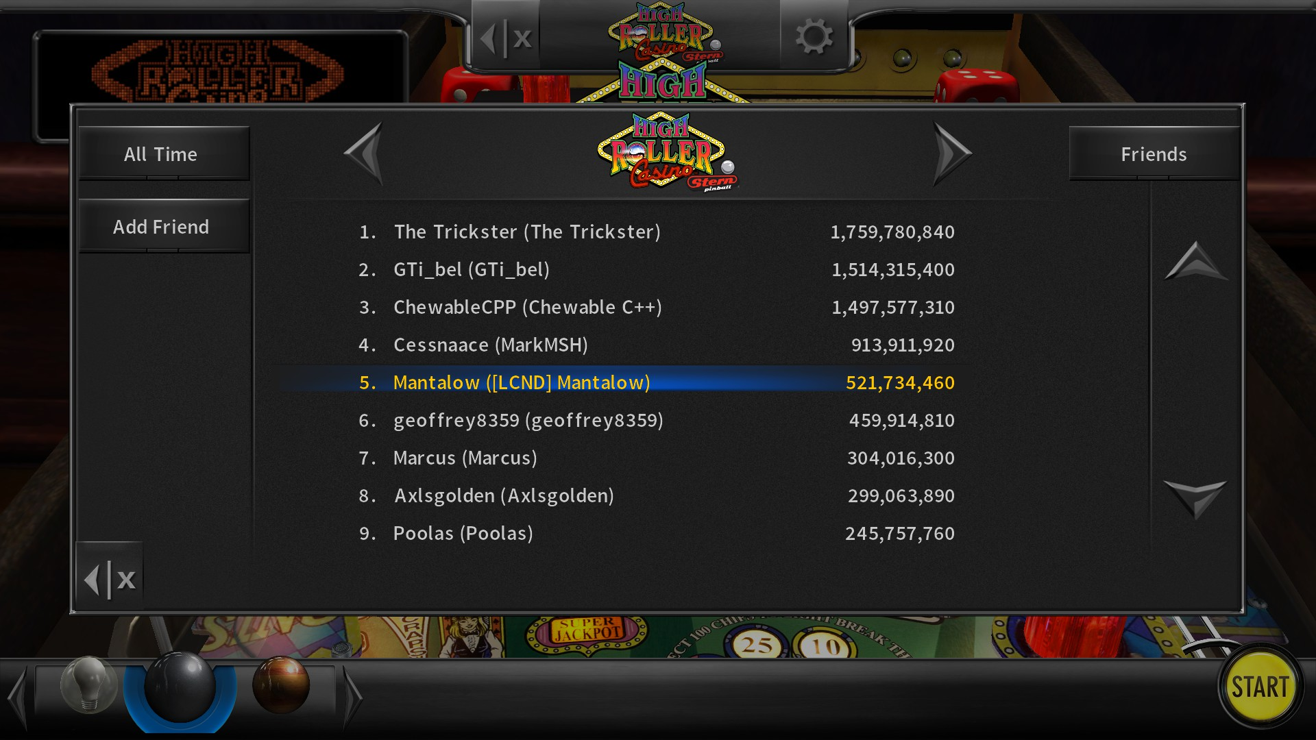 Mantalow: Pinball Arcade: High Roller Casino (PC) 521,734,460 points on 2016-11-19 15:13:02
