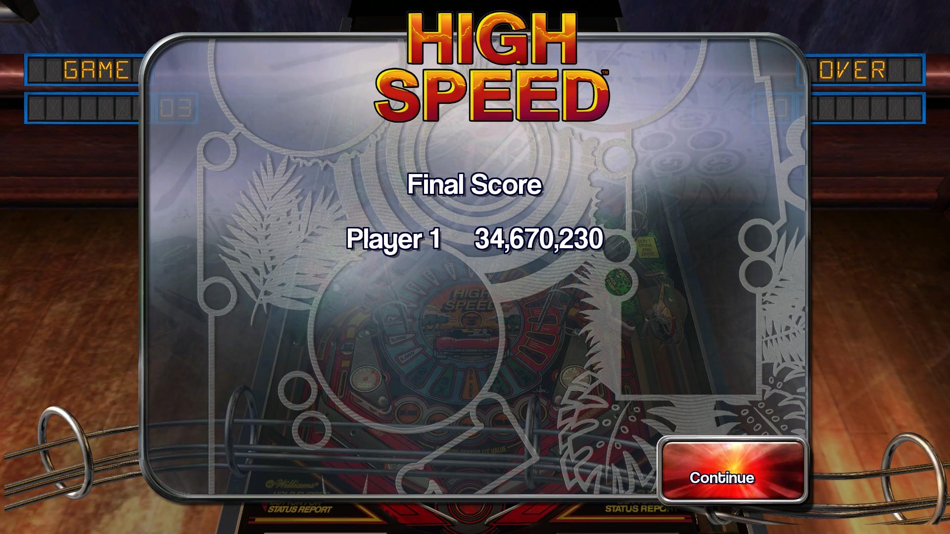 Pinball Arcade: High Speed 34,670,230 points