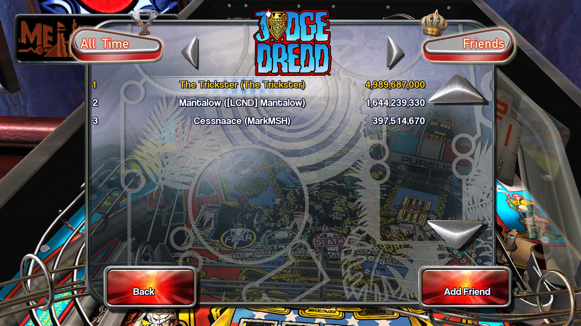 Pinball Arcade: Judge Dredd™ 4,989,687,000 points