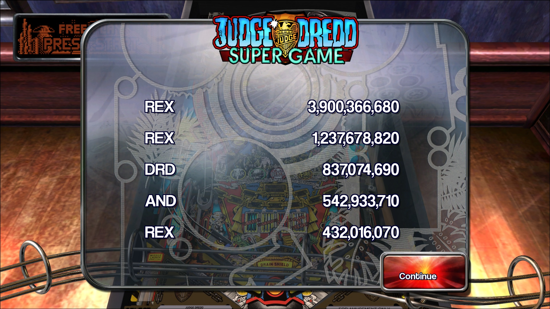 rexeus: Pinball Arcade: Judge Dredd™ (PC) 3,900,366,680 points on 2016-06-24 16:20:27