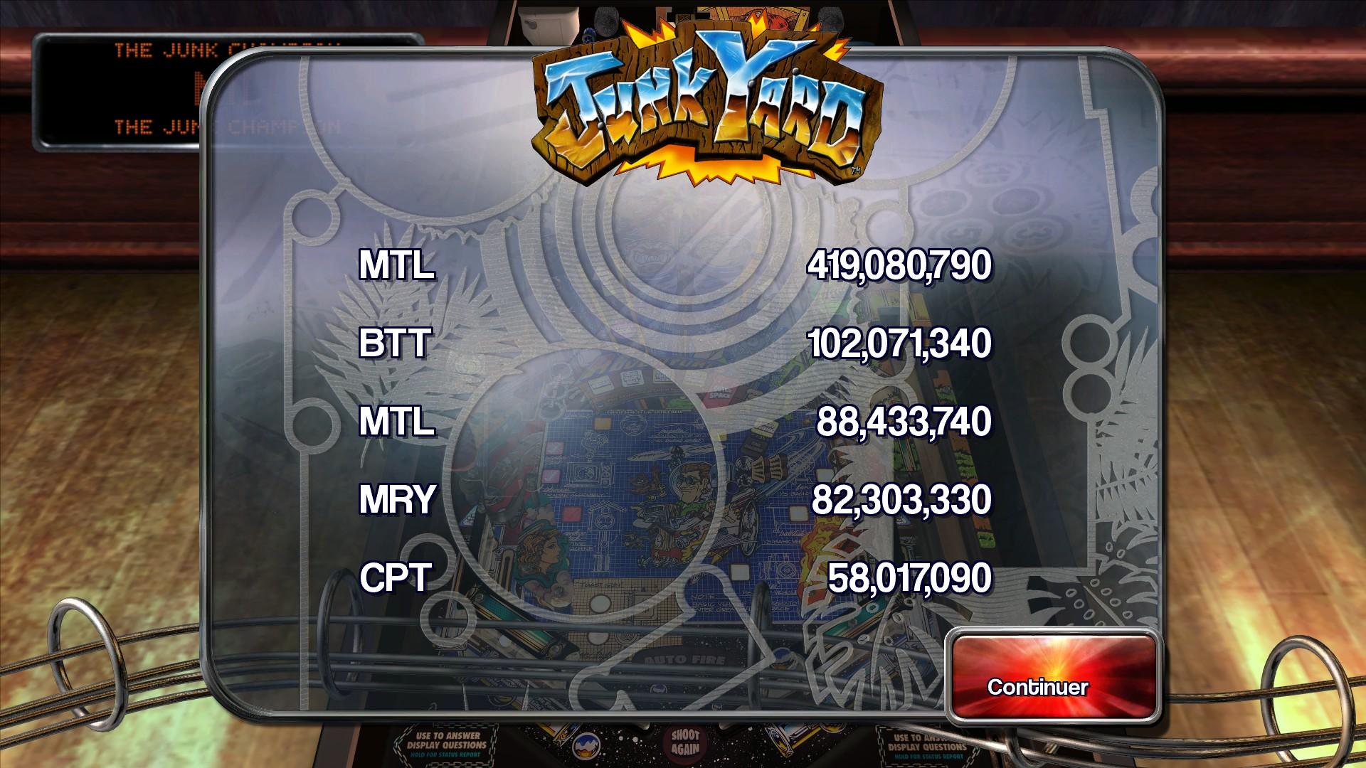 Mantalow: Pinball Arcade: JunkYard (PC) 419,080,790 points on 2016-01-04 21:59:07