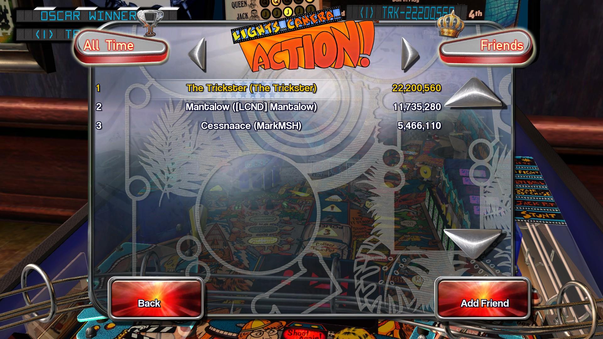 Pinball Arcade: Lights...Camera...Action! 22,200,560 points