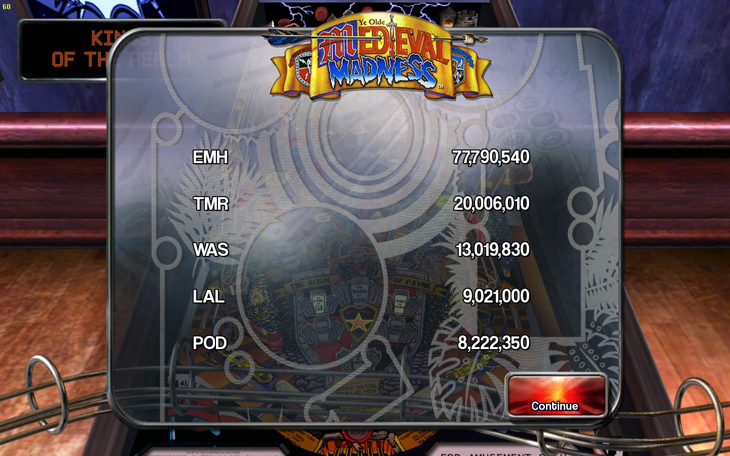 lowGman: Pinball Arcade: Medieval Madness (PC) 77,790,540 points on 2015-09-21 22:09:08