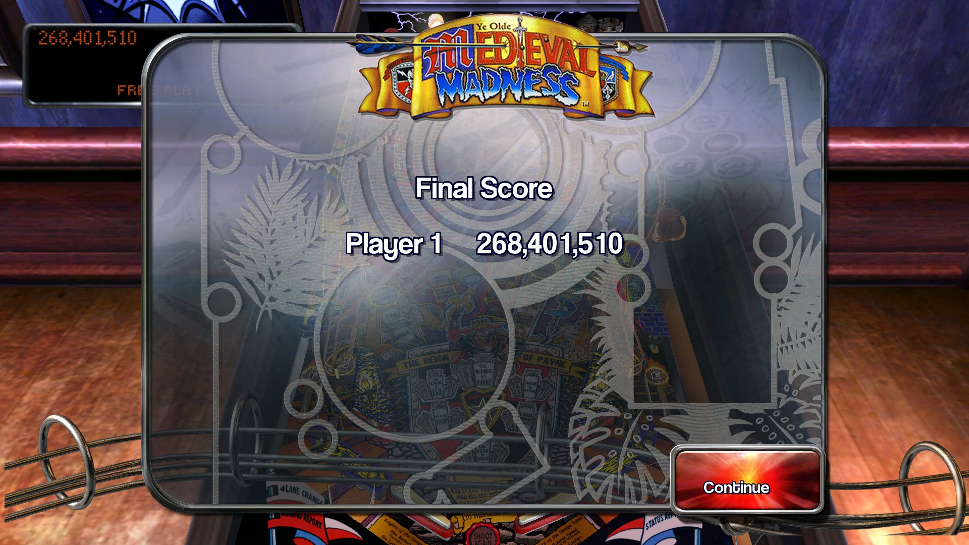 Pinball Arcade: Medieval Madness 268,401,510 points