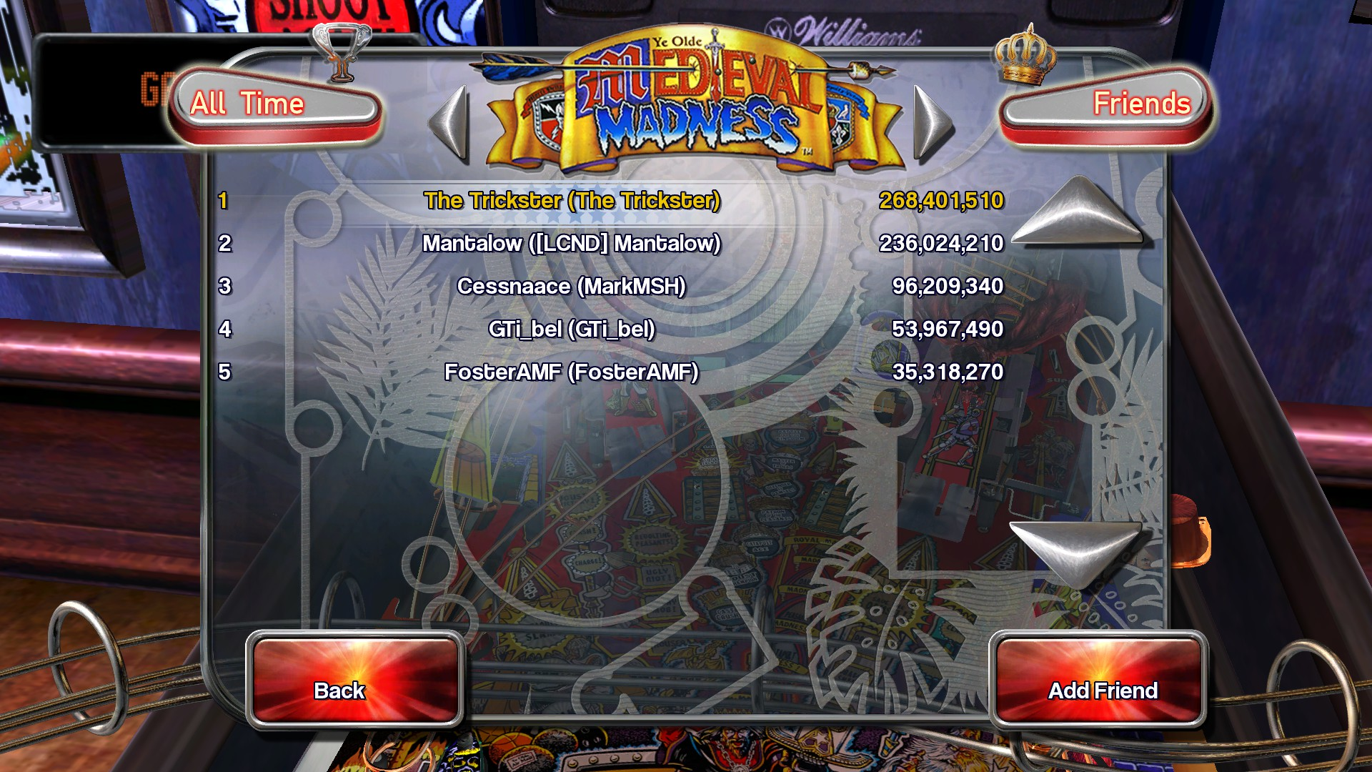 TheTrickster: Pinball Arcade: Medieval Madness (PC) 268,401,510 points on 2015-11-21 14:39:24