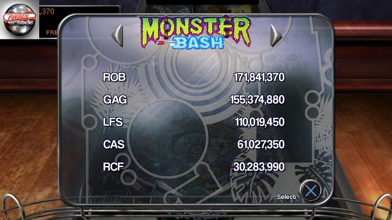 RetroRob: Pinball Arcade: Monster Bash (Playstation 4) 171,841,370 points on 2019-10-03 02:07:08