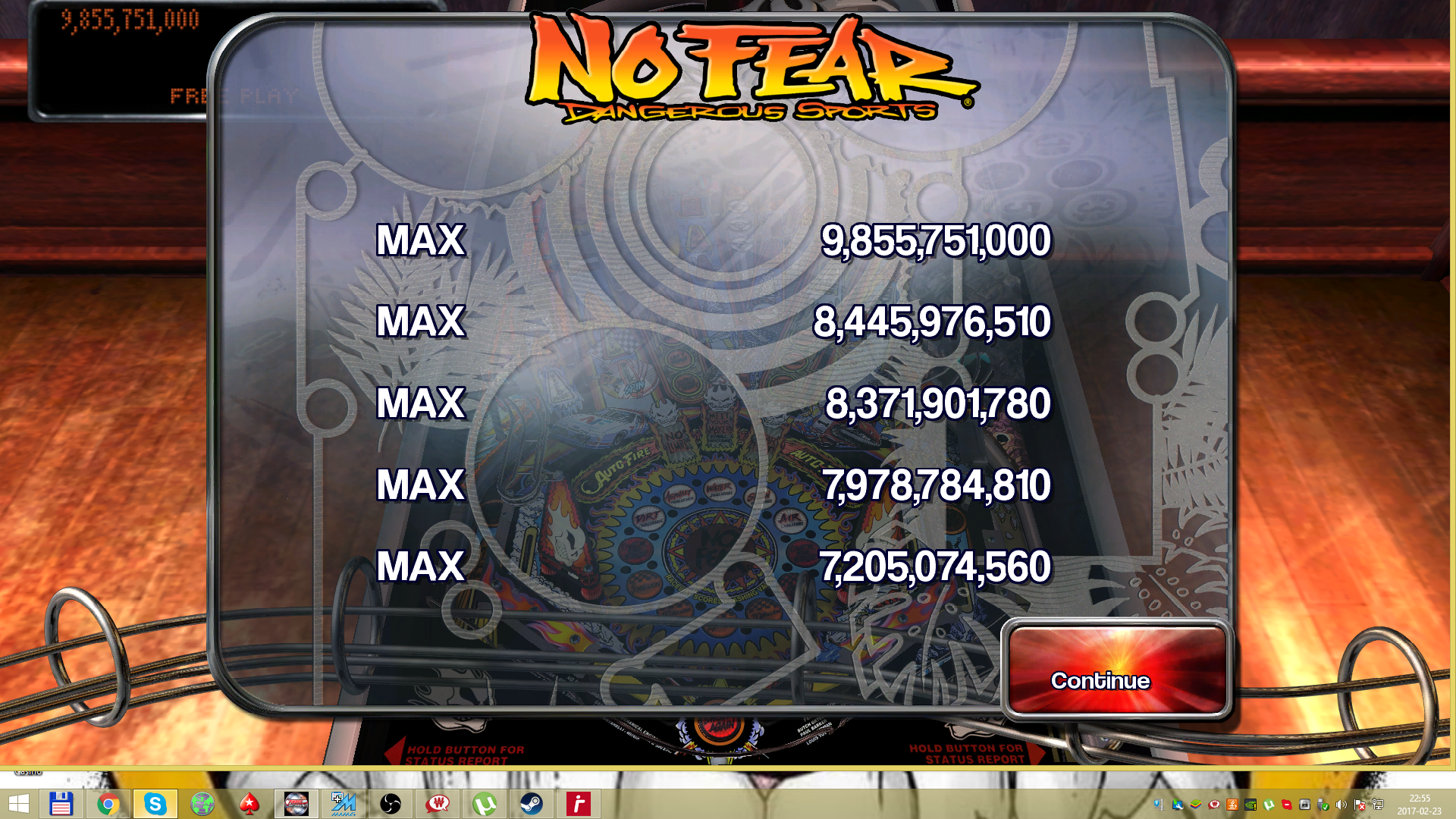 maxgreat: Pinball Arcade: No Fear: Dangerous Sports (PC) 9,855,751,000 points on 2017-02-23 16:03:24