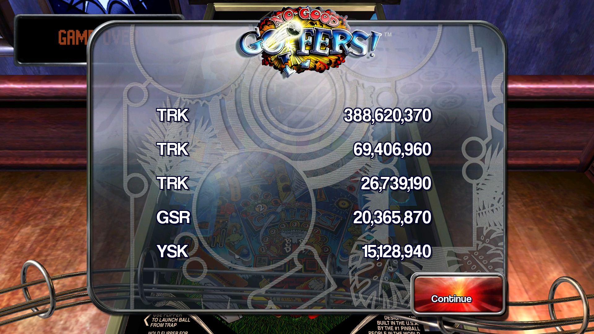 TheTrickster: Pinball Arcade: No Good Goofers (PC) 388,620,370 points on 2015-11-28 03:34:57