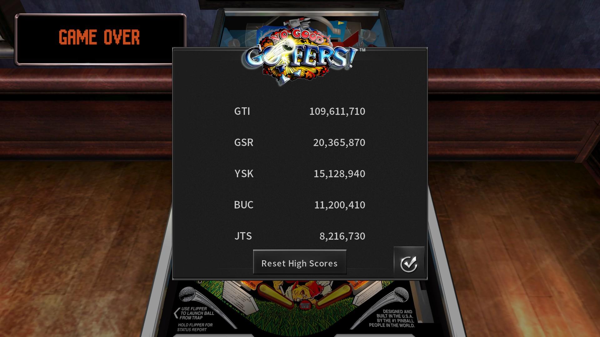 GTibel: Pinball Arcade: No Good Goofers (PC) 109,611,710 points on 2020-07-24 07:08:32
