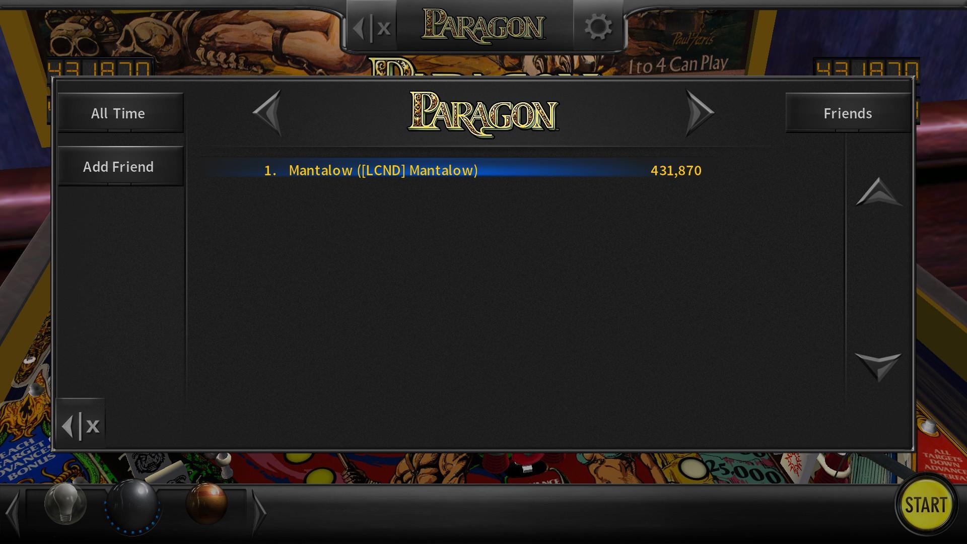 Mantalow: Pinball Arcade: Paragon (PC) 431,870 points on 2017-06-22 11:22:30