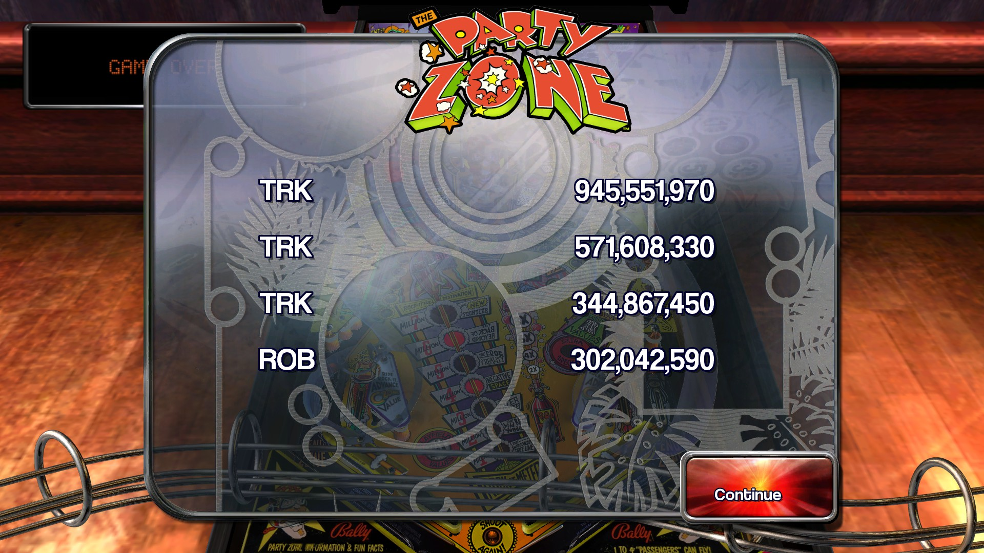 TheTrickster: Pinball Arcade: Party Zone (PC) 945,551,970 points on 2016-05-20 09:35:39