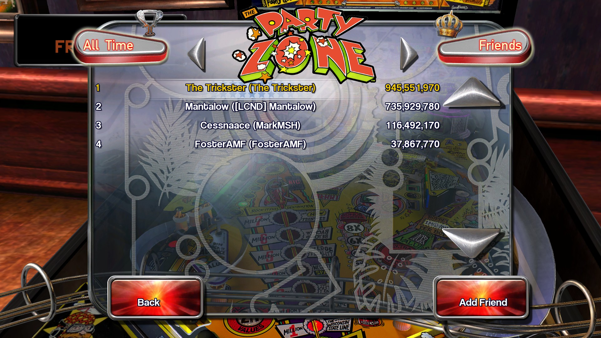 Pinball Arcade: Party Zone 945,551,970 points
