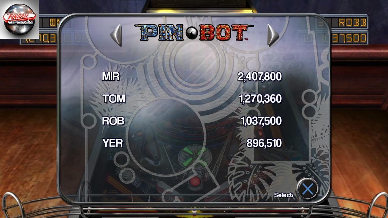 RetroRob: Pinball Arcade: Pin*Bot (Playstation 4) 1,037,500 points on 2020-12-30 14:49:29