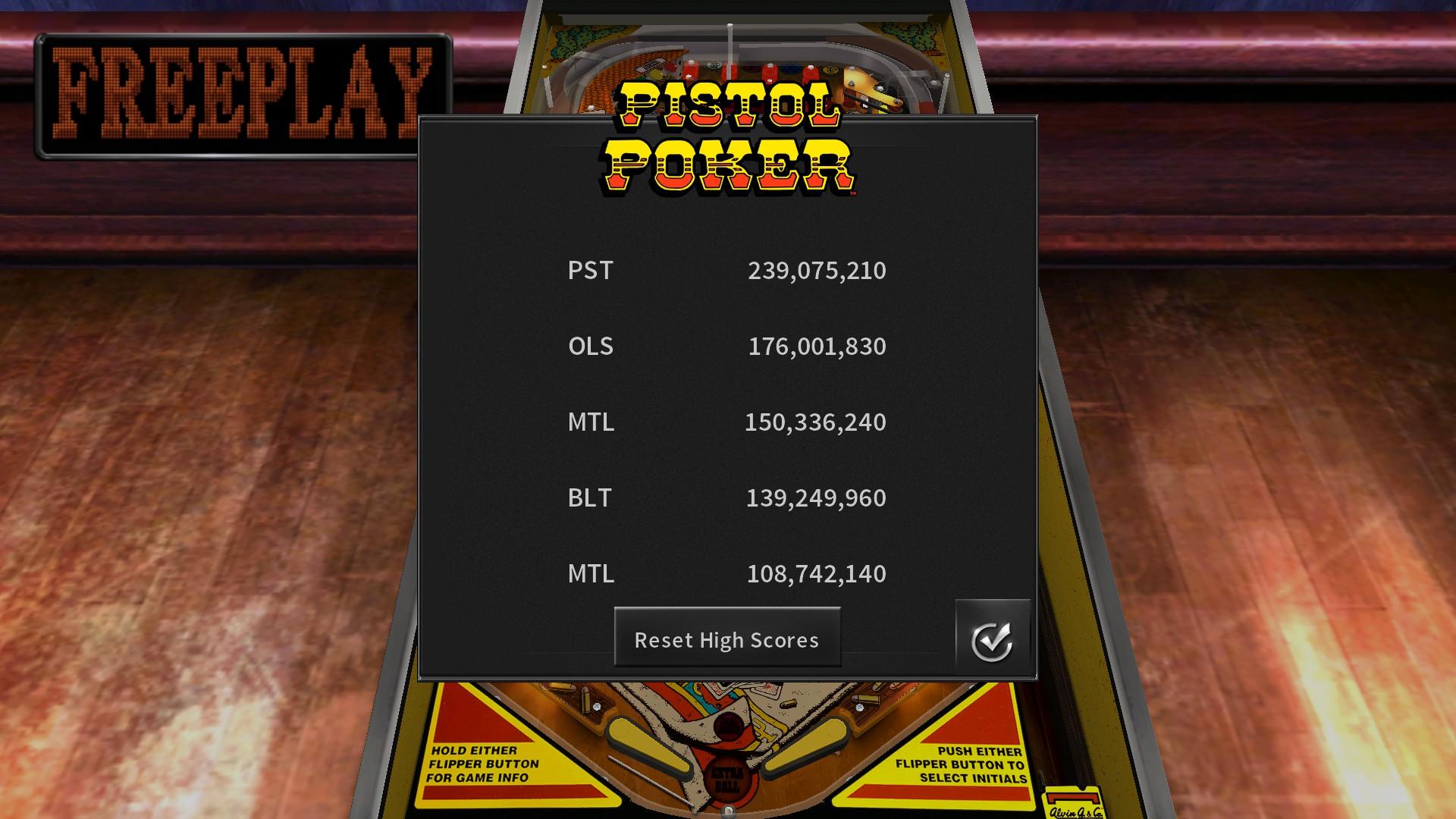 Mantalow: Pinball Arcade: Pistol Poker (PC) 150,336,240 points on 2018-02-02 00:34:55