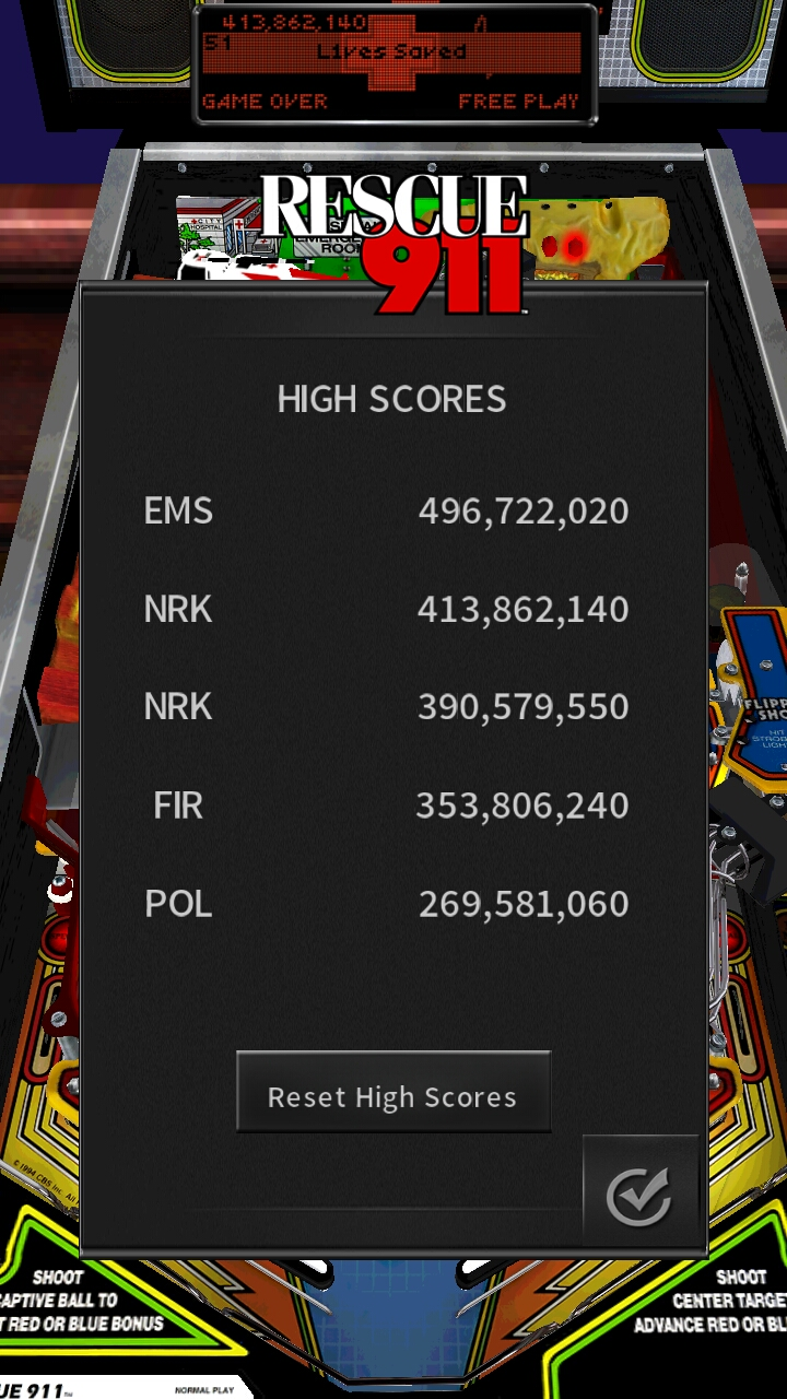 Pinball Arcade: Rescue 911 413,862,140 points