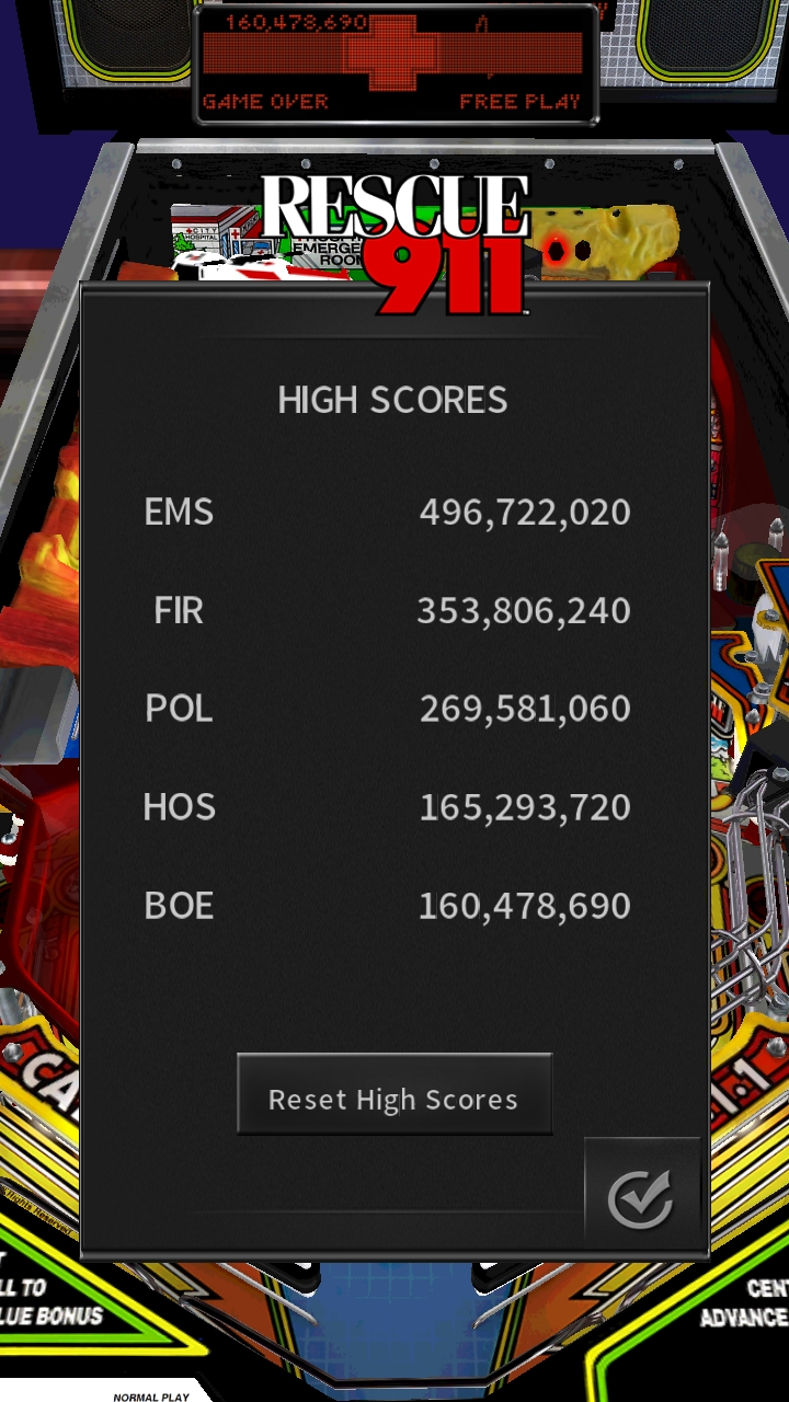 Pinball Arcade: Rescue 911 160,478,690 points