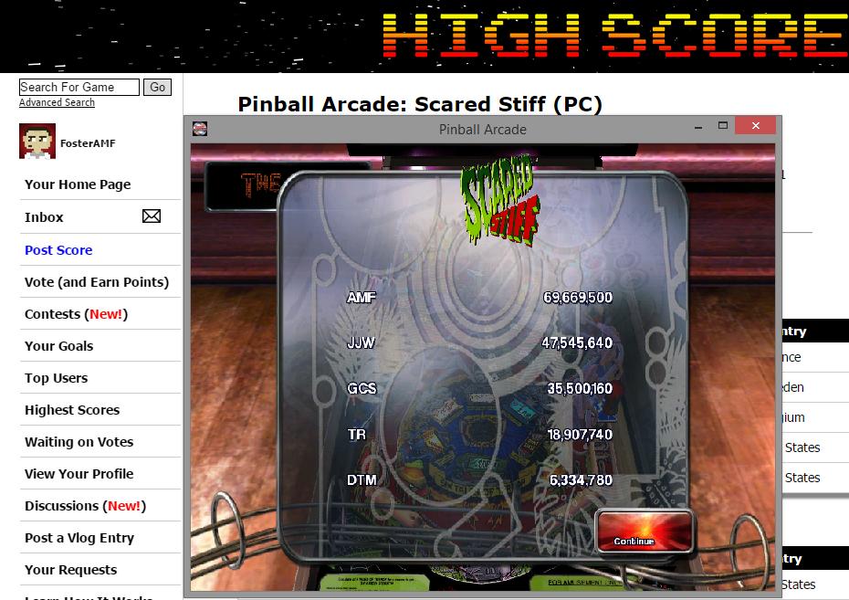 FosterAMF: Pinball Arcade: Scared Stiff (PC) 69,669,500 points on 2015-07-05 18:39:15
