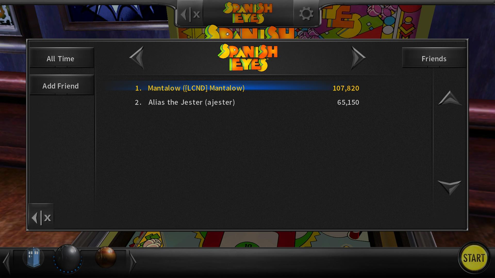 Mantalow: Pinball Arcade: Spanish Eyes (PC) 107,820 points on 2018-01-16 03:04:19