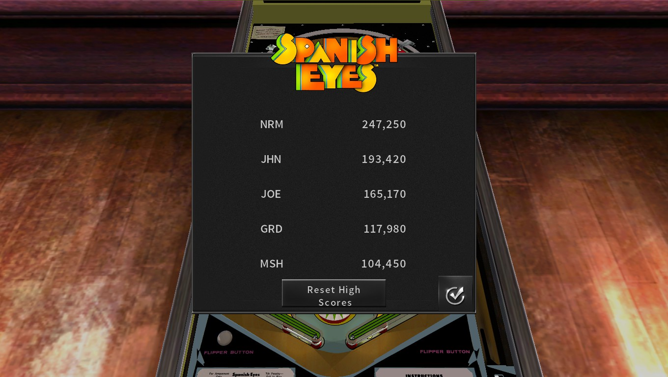 Mark: Pinball Arcade: Spanish Eyes (PC) 104,450 points on 2018-05-17 02:27:31