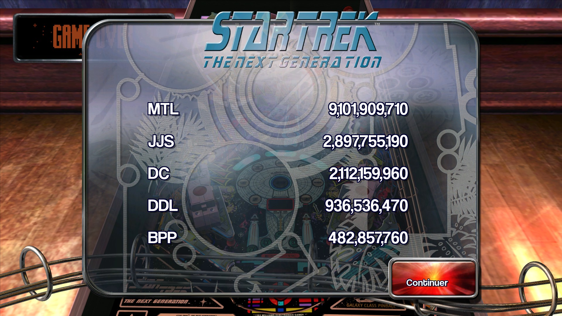 Mantalow: Pinball Arcade: Star Trek: The Next Generation (PC) 9,101,909,710 points on 2015-08-28 11:56:15