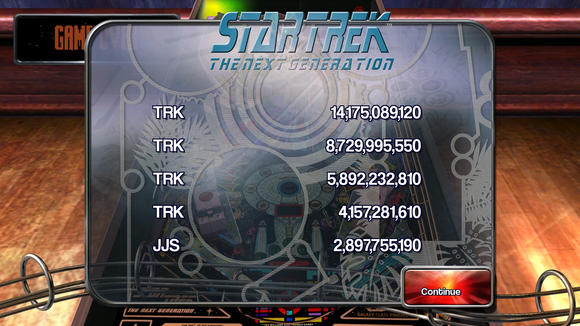Pinball Arcade: Star Trek: The Next Generation 14,175,089,120 points