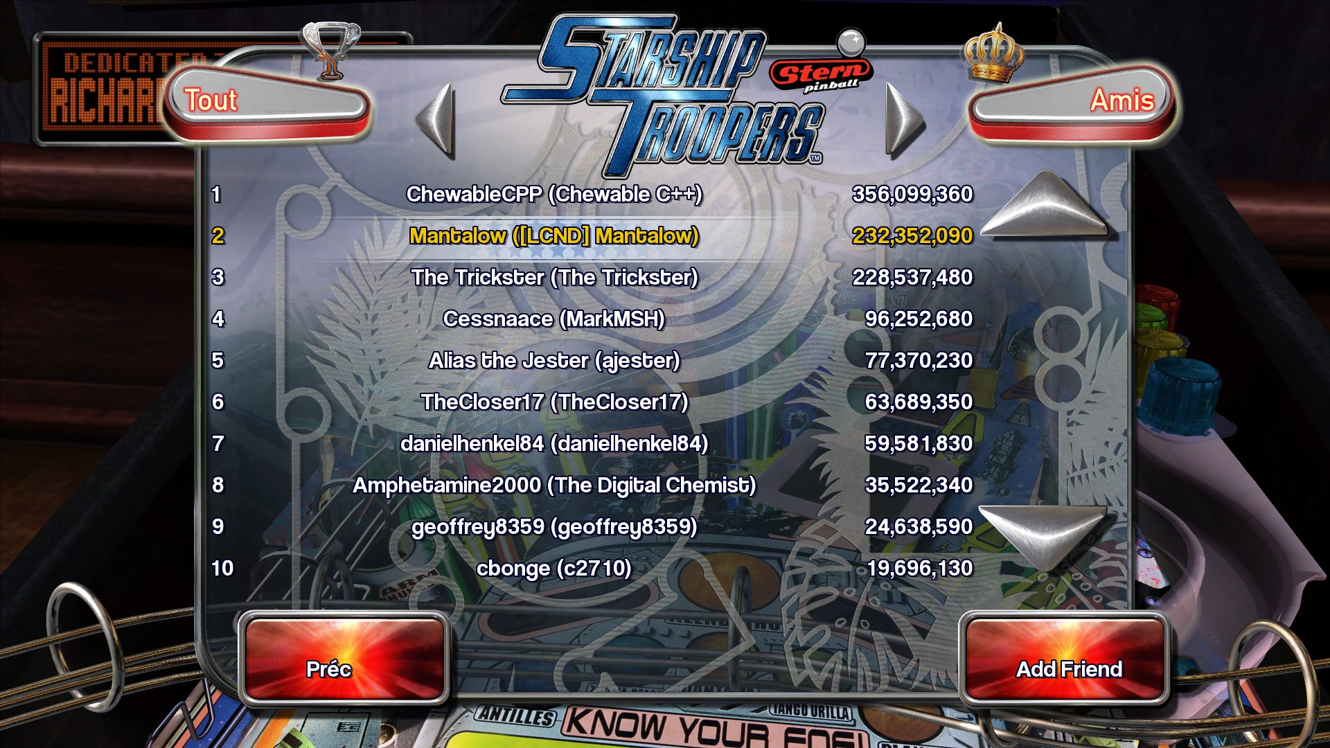 Mantalow: Pinball Arcade: Starship Troopers (PC) 232,352,090 points on 2016-02-28 04:30:08