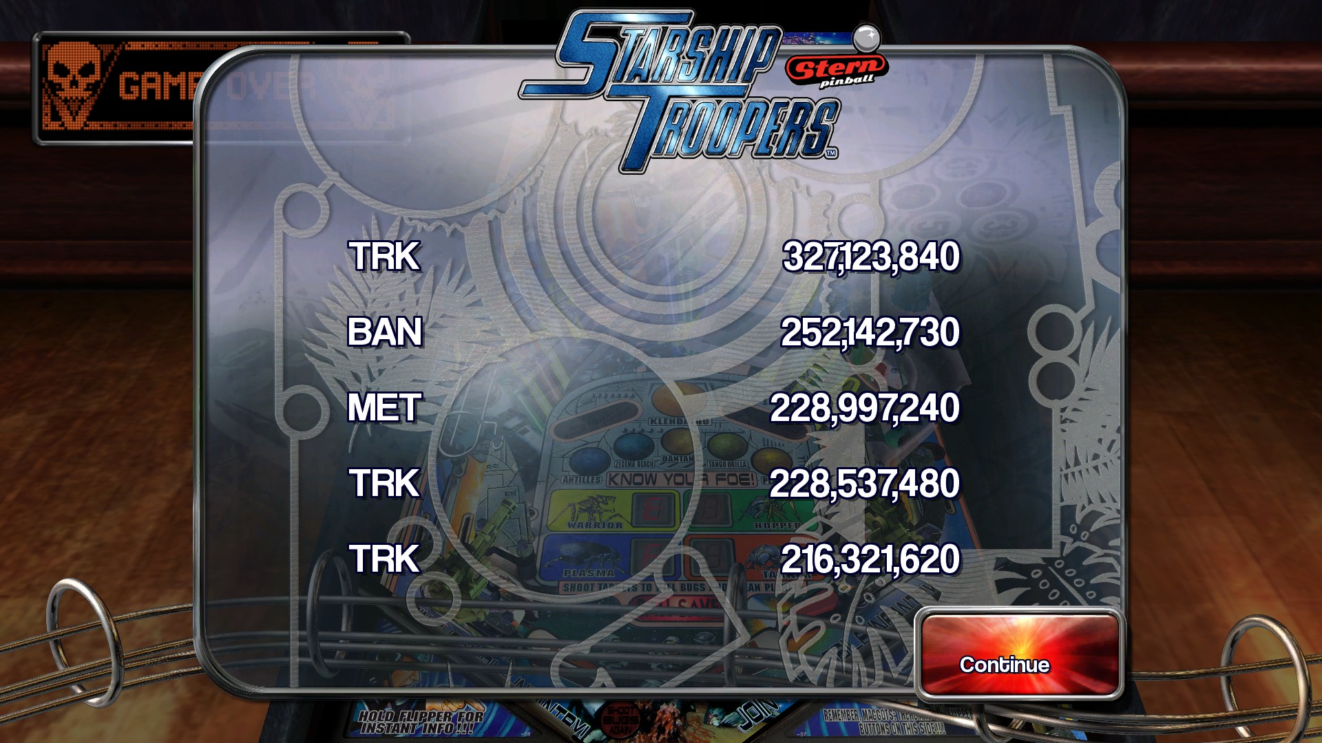 TheTrickster: Pinball Arcade: Starship Troopers (PC) 327,123,840 points on 2016-03-02 05:13:01