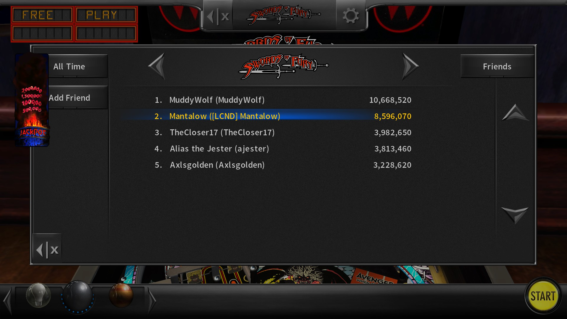 Mantalow: Pinball Arcade: Swords of Fury (PC) 8,596,070 points on 2017-04-13 03:59:28